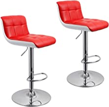 Duhome Bar Stools Adjustable Swivel PU Leather and Plastic Barstools Kitchen Height Bar Chair Set of 2 (Red+White)