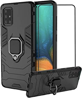 2ndSpring Case for Samsung Galaxy A71 with Tempered Glass Screen Protector,Hybrid Heavy Duty Protection Shockproof Defende...