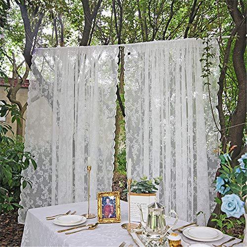 Primst 2 Pezzi Tenda di Pizzo, Tende in Pizzo Bianche, Tende Trasparenti in Pizzo Ricamato Floreale, per Soggiorno Camera da Letto Decorazioni per Matrimoni