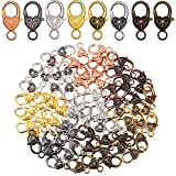 112 Pieces Tibetan Antique Heart Lobster Clasps Alloy Heart Shaped Clasps Multi-Colored Heart Lobster Claw Clasps, 27 x 9 mm for DIY Jewelry Making Finding Crafts, 8 Colors