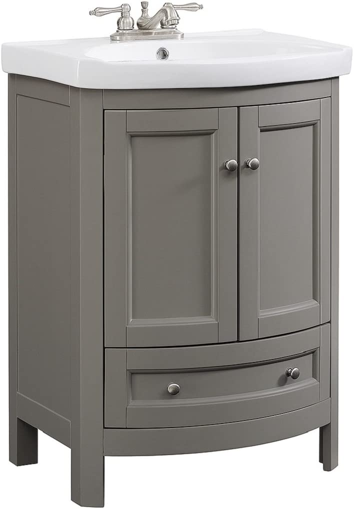 Runfine Rfva0069g 24 Inch Wide All Wood Modern Gray Vanity With Vitreous China Top 2 Doors And 1 Slow Close Arch Drawer Amazon Com