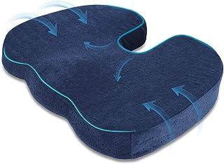 HALOVIE Cojin Coxis de Espuma Memoria Cojín Ortopédico Almohada Alivia el Dolor y Corrige Postura Funda Lavable para Sillas de Oficina, Coche, Avión, Silla de Ruedas, Azul