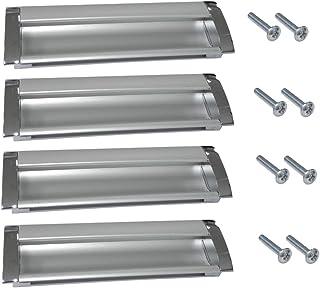 AERZETIX: Tirador para cajón alacena puerta mueble armario para empotrar Chelif cromo/plata mate 128mm (4 piezas)