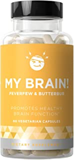 My Brain! Natural Headache Vitamins – Healthy Brain Function, Ease Your Mind, Open & Clear Head Relief – Strong Potency Magnesium, Butterbur, Feverfew – 60 Vegetarian Soft Capsules