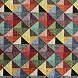 Kt KILOtela Tela de tapicería - Jacquard Gobelino - Retal de 100 cm Largo x 280 cm Ancho | Triángulos, Grande - Rojo, Verde, Amarillo, Gris, Negro ─ 1 Metro