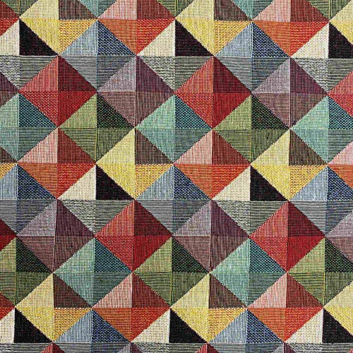 Kt KILOtela Polsterstoff - Dekostoff - Gobelin Jacquard - Stück: 100 cm Länge x 280 cm Breite   Dreiecke, Groß - Rot, Grün, Gelb, Grau, Schwarz ─ 1 Metre