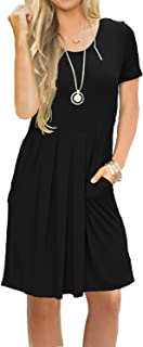 AUSELILY Women's Short Sleeve Pleated Loose Swing Casual...