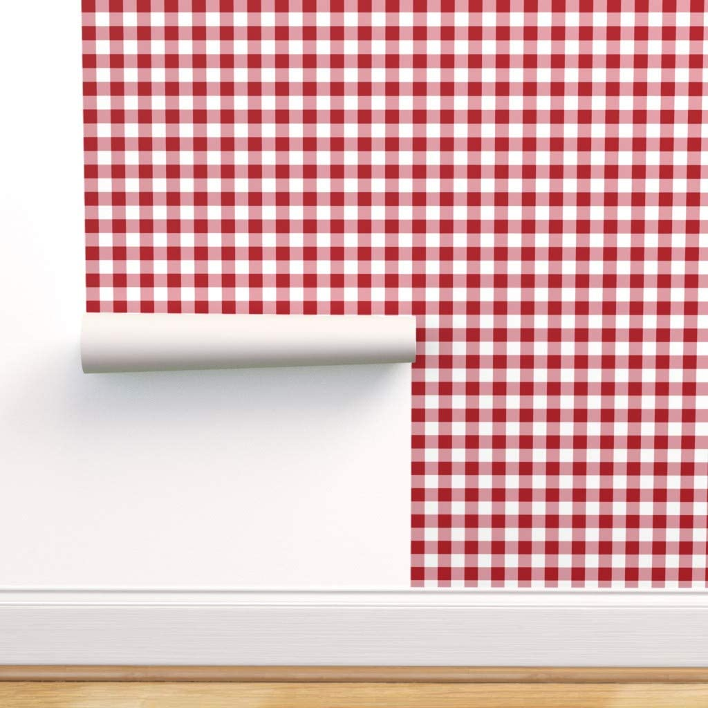 Spoonflower 注目ブランド Peel and Stick 店舗 Removable Square Wallpaper Red White