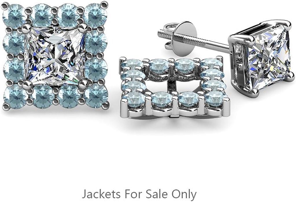 TriJewels Aquamarine Halo Jacket for Princess Cut Stud Earrings 0.80 ct tw in 14K White Gold