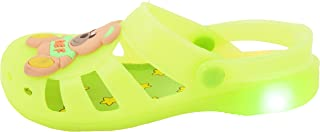 Yellow Bee Boys Teddy LED Clogs, Green