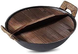 SPNEC Usine en acier épais Wok main Marteau en acier au carbone Maison Fonte Binaural Wok, Bas traditionnelle ronde