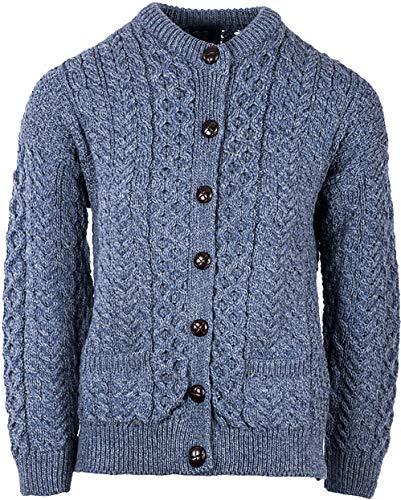 Irischer Wollfäller-Cardigan-Pullover aus Wolle (Navy, XS)