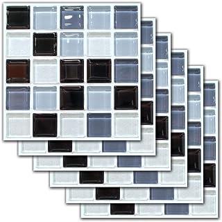 6 Piezas Mosaico Impermeable Autoadhesivo DecoracióN del Hogar Azulejo Pegatina Cuarto De BañO PVC Adhesivo para Azulejos Cocina Suelos De Vinilo Pegatinas De Baldosas 20x20cm, 7.87 x 7.87 Pulgadas