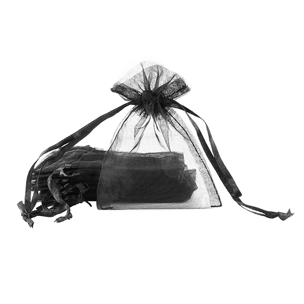 SumDirect Drawstring Organza Bags,Sheer Jewelry Pouches,Favor Gift Bags for Wedding Party Christmas,100PCS,3x4inches (Black)