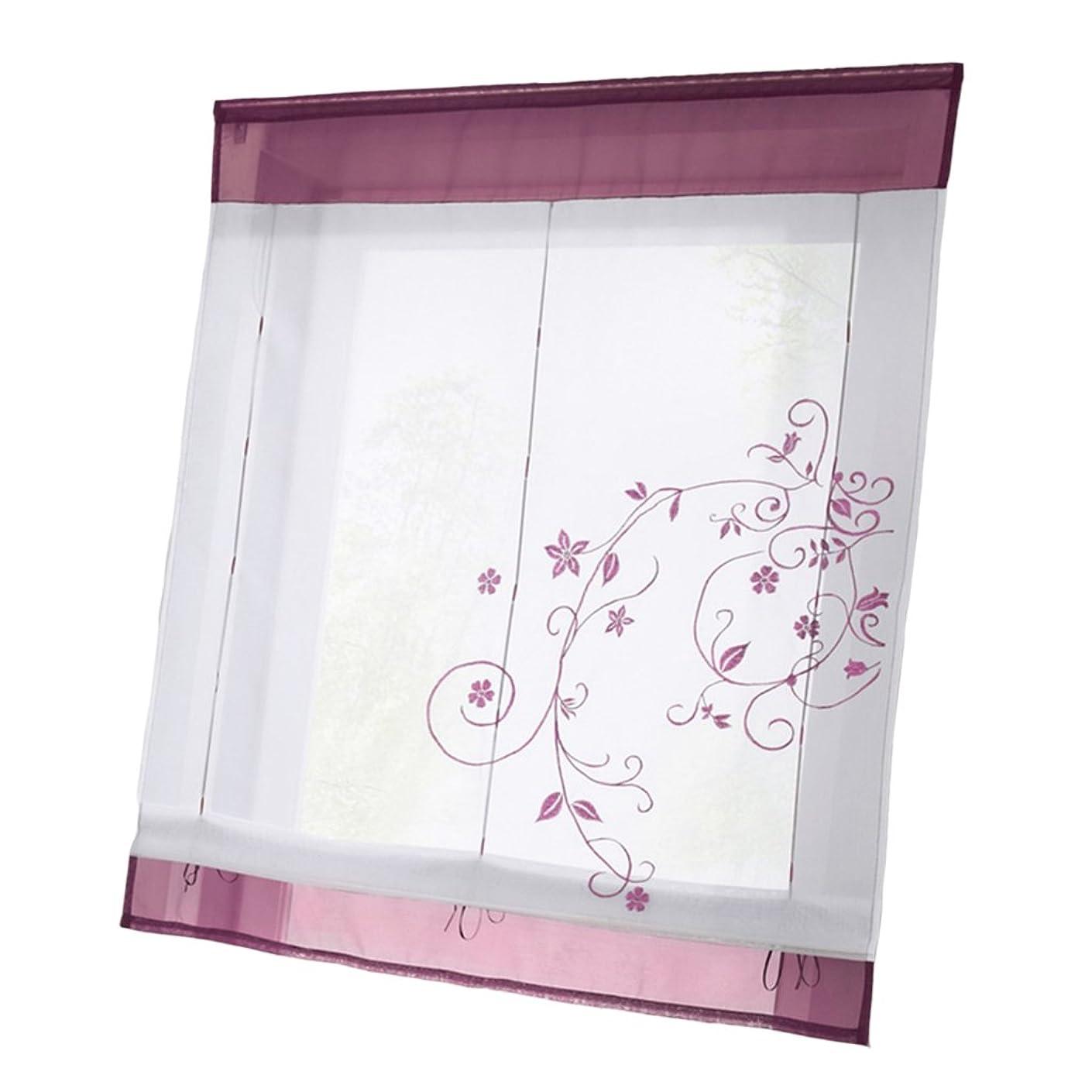 投げるハンバーガー繁殖PETSOLA 窓 優雅 短いカーテン 薄片 ローマン刺繍カーテン 4サイズ - パープル, 80x100cm