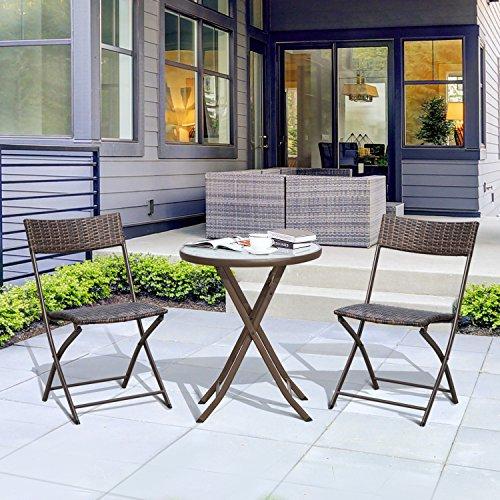 Outsunny Conjunto de Mesa y 2 Sillas Muebles Ratán para Jardín Exterior Patio Terraza Plegable Poli Ratán Marco Acero Marrón