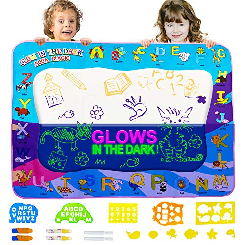 Water Doodle Drawing Pad Mat - Aqua Magic Drawing Board Set for Kids & Toddlers, Educational Painting Coloring Writing Tablet Toy Kit for Boys& Grils Ages 3-12 Years Mess-Free Markers