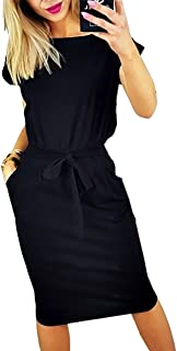 Women's 2020 Casual Short Sleeve Party Bodycon Sheath Belted Dress with Pockets