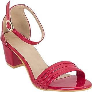 SHOFIEE Women's Ankle Strap Block Heels Sandal
