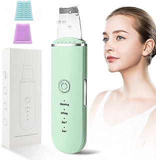 BelonLink Skin Scrubber, face Spatula, Ultraschallpeelinggerät Peeling Porenreiniger, Haut Scrubber Mitesserentferner, Akne-Entferner, Ionen Hautreiniger Spatel Facelifting Massagegerät