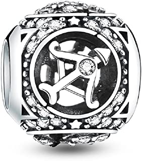 12 Horoscope Zodiac Sign 925 Sterling Silver Charms Fit for Bracelet, Ideal Women's Gift