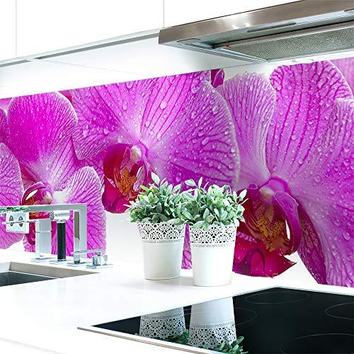 Küchenrückwand Orchideen Blüte Premium Hart-PVC 0,4 mm selbstklebend - Direkt auf die Fliesen, Größe:Materialprobe A4