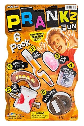 JA-RU Pranks Kit for Kids Gags Toys 6 Different Cool Stuff Scary Prop Set. Party Favor Bag Toy. Prankz Gaging Fun Pranking Kit | Item #6416-1p