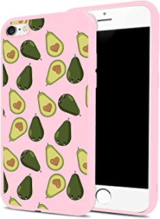 Avocado Phone Case for iPhone 7/iPhone 8, MAYCARI Soft Full Protective Slim Pink Rubber Drop Protection for Girls Women