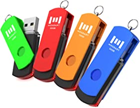Upgrade 4 Pack of 32GB USB 2.0 Thumb Drive, A Set of 32 GB 360° Rotation USB Flash Drive with LED Light, 32gig Multipack Jump Drive with Keychain for Computer Storage by MOSDART (Multicolor)