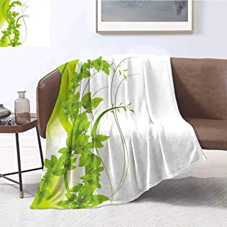 YOYI-Home Green Premium Microfiber Throw Blanket Blossoming Flowers Natural Fantasy Theme Abstract Botanical Garden Design Cozy Blanket fit for Outdoor W70 x L93 Inch Apple Green White
