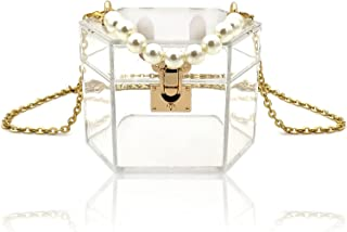 Clear Purse for Women, Acrylic Box Evening Clutch Bag Shoulder Handbag, Woman Cute Transparent Acrylic Shoulder Bag.