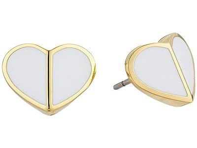Kate Spade New York Heritage Spade Small Heart Studs Earrings (White) Earring