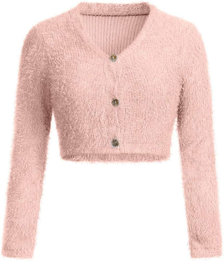 TOTOD Women Sweater Coat Fashion V-Neck Long Sleeve Furry Casual Outerwear Button Crop Tops Popular