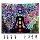 Tapiz Colgar Pared, Tapiz Pared Yoga, Tapiz Mandala Colorido, Tapiz Pared Yoga Mandala, con Kit de Instalación, para Dormitorio, Sala De Estar, Dormitorio, Decoración de Habitación de Estudio