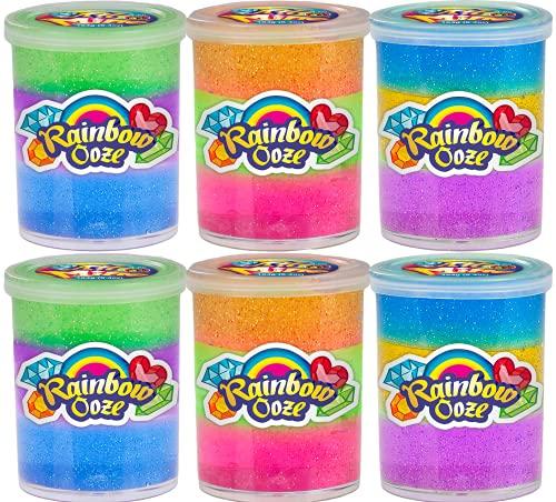 JA-RU Rainbow Putty Slime Kit Neon Glitter Colors (6 Units) Unicorn Party Girls Game. Crystal Slime...