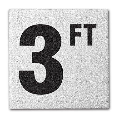 Aquatic Custom Tile Ceramic Swimming Pool Deck Depth Marker 3 FT Abrasive Non-Slip Finish, 4 inch Font