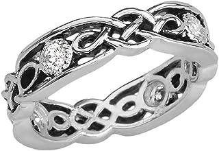 Elegant Black and Sterling Silver CZ Vintage Celtic Knot Wedding Band