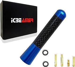 "ICBEAMER 3"" 76 mm Aluminum Blue w/Carbon Fiber Universal AM/FM Radio Antenna Screw-in Replacement"
