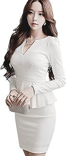長袖 Vネック ペプラム ミニ ワンピース ドレスライン キャバドレス ナイトドレス キャバ嬢 ファッション