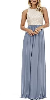 A Line Top Lace Bodice Plus Size Bridesmaid Dresses for Women Long Chiffon Formal Dress