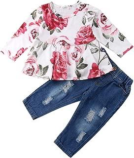 Haokaini 2 Teile//Satz Baby M/ädchen Langarm Hosen Outfits Set Zerrissene Jeans Hosen Blumendruck Top Shirt