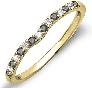 0.25 Carat (ctw) 10K Gold Round Black & White Diamond Anniversary Wedding Ring Matching Band 1/4 CT