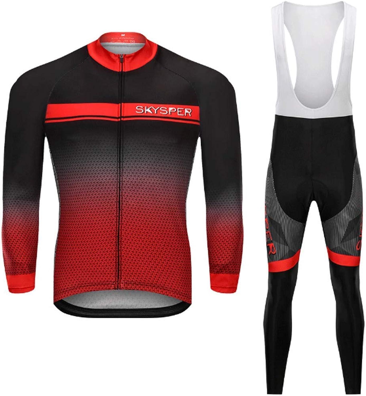 Lilongjiao Frühling und Herbst Reitanzug Langarm-Trgerset Wicking Schnell trocknende Radsporthose Langarm Atmungsaktiv Sportbekleidung
