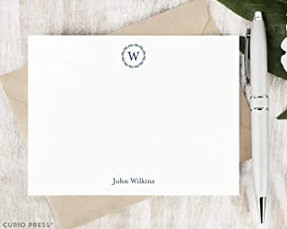 REFINED MONOGRAM - Personalized FLAT Formal Laurel Wreath Couple Wedding Stationery/Stationary Card Set