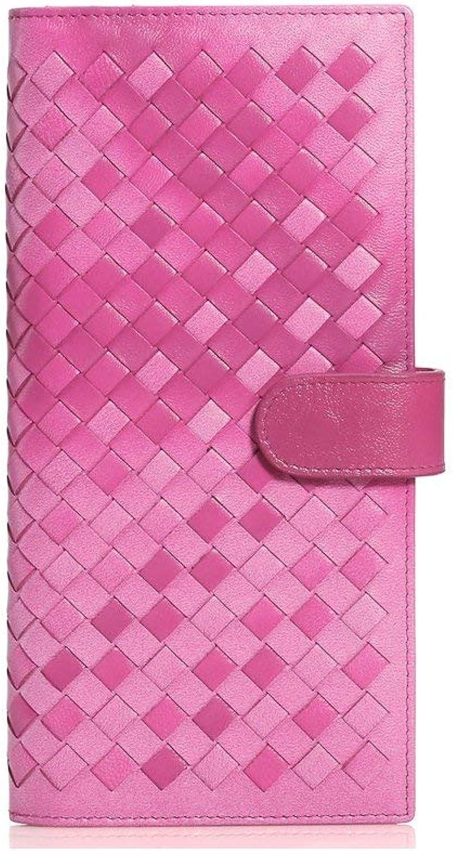 Ladies Handbag Women's Purse, Sheepskin Hand-Knitted Hand-Held Bag, Leather Wallet (color   Pink)