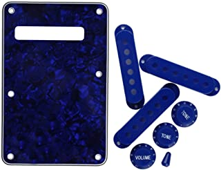 FLEOR Set of 4Ply Blue Pearl Strat Style Guitar Back Plate with Blue 52/52/52 Pickup Covers/2 Tone 1 Volume Knobs/Switch Tip