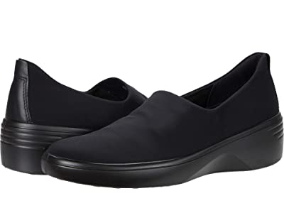 ECCO Soft 7 Wedge Slip-On (Black/Black) Women