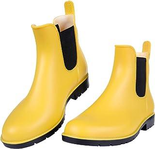 Asgard Women's Short Rain Boots Waterproof Slip On Ankel Chelsea Booties