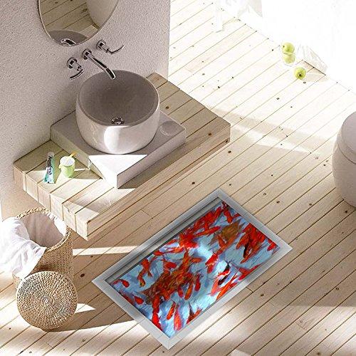 Bazaar PAG 3D waterdicht goudvijverpatroon badkamer anti-slip vloersticker wasbaar douchegordijn decor