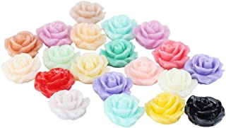 ReFaXi 20pcs Mix Colors Resin Rose Flower Cabochons Flatback Appliques Embellishments